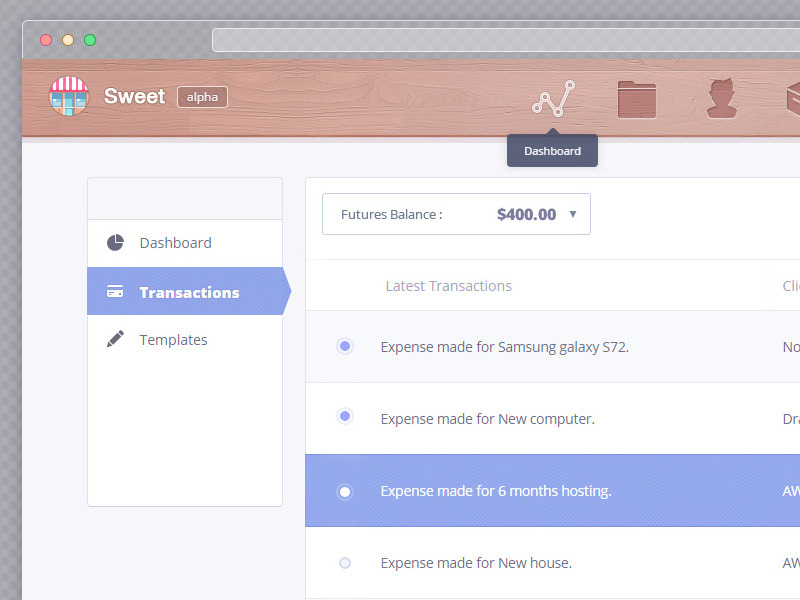 Transaction page for Sweet