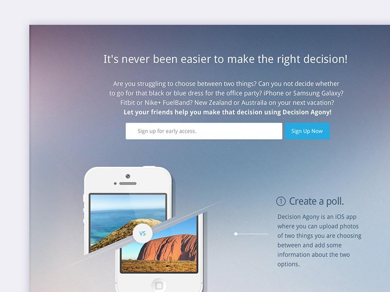 Decision Agony Homepage